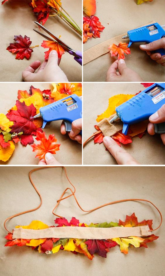 DIY Fall Leaf Crown.