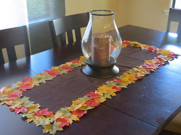 DIY Fall Leaf Table Runner.