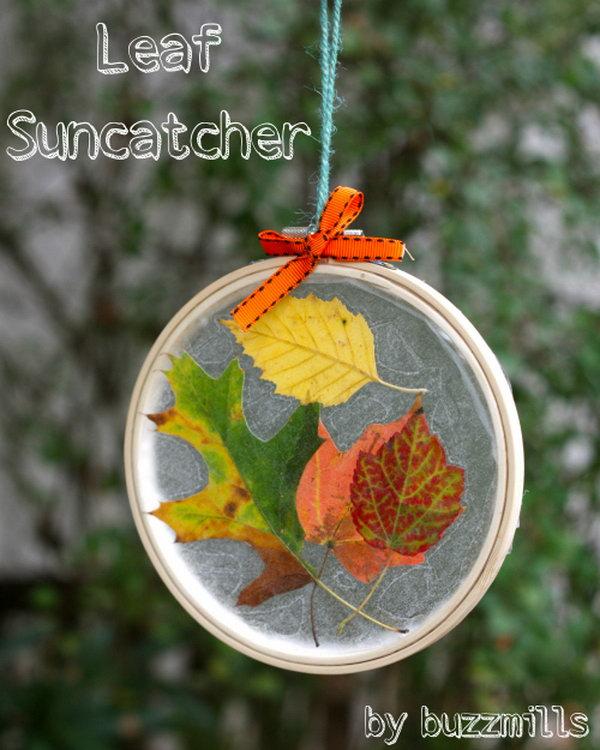 Embroidery Hoop Leaf Suncatchers.