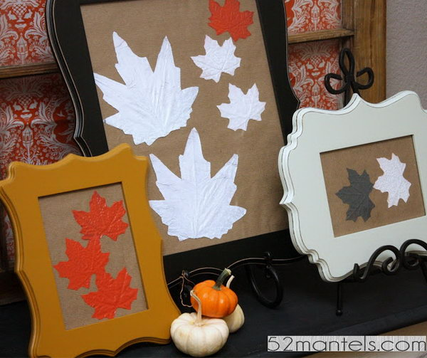 Framed Fall Leaf Wall Art.