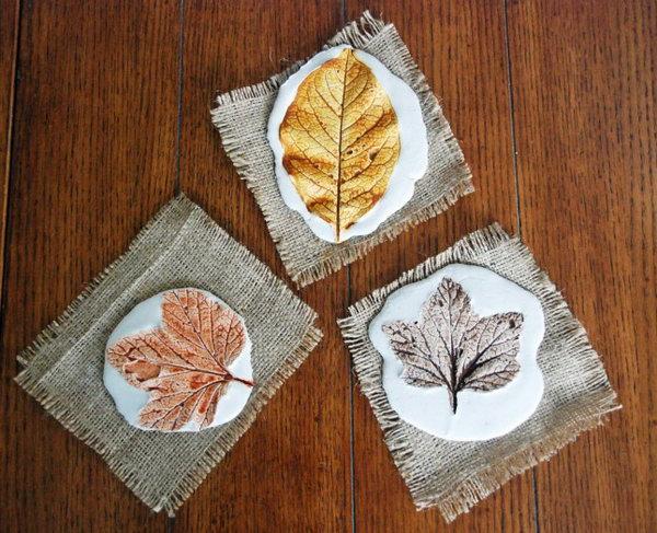 Plaster Leaf Prints.