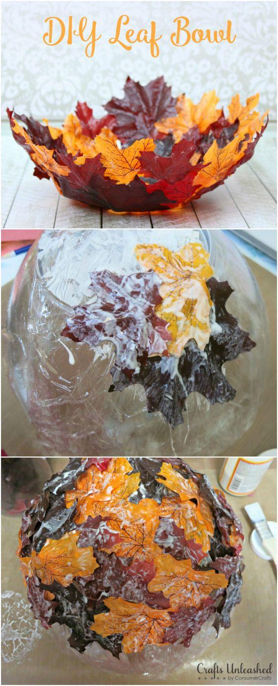 DIY Decorative Leaf Bowl for Fall.