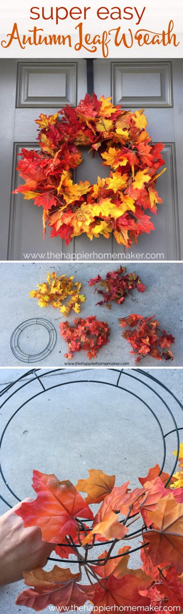 Super Easy Autumn Leaf Wreath.