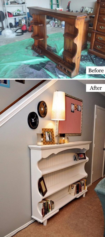 Dresser Hutch Turned Sofa Table Or Shelf.