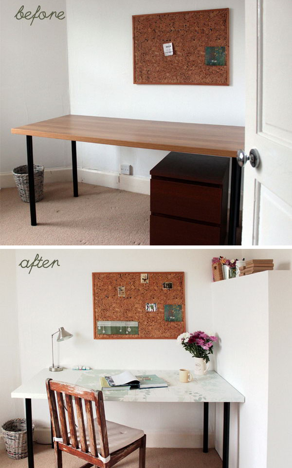 Table Makeover Using Wallpaper