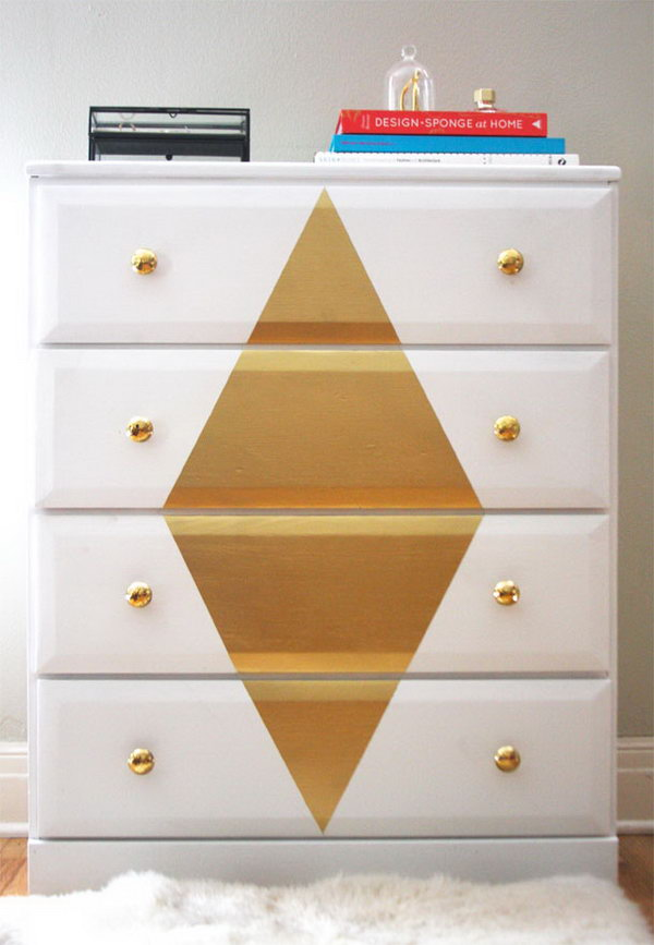 Refinishing a Dresser with White and Gold paint