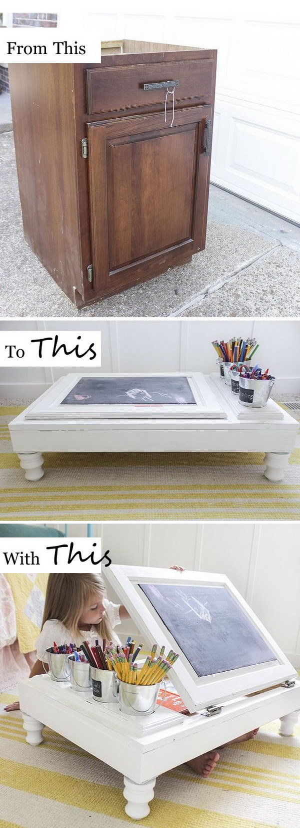 Turn Your Old Kitchen Cabinet Into a Child's Desk.