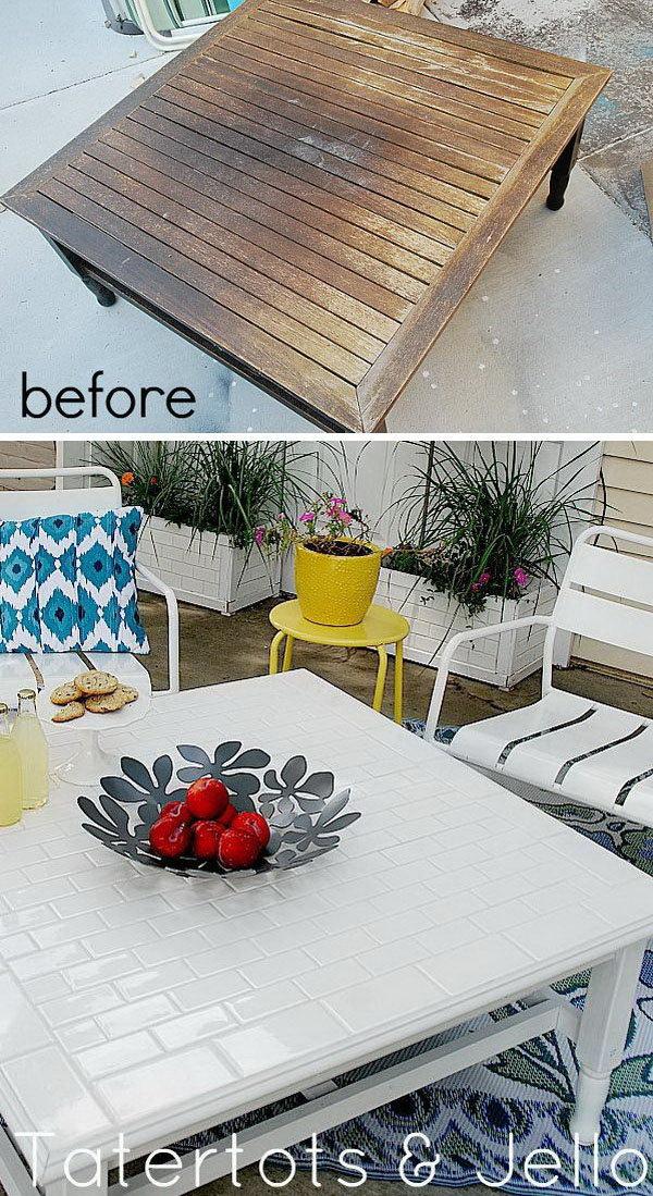 DIY Subway Tile Table Redo
