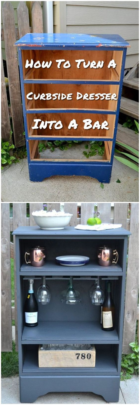 Turn A Curbside Dresser Into A Bar.