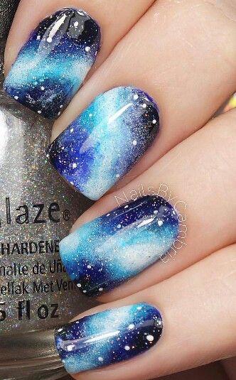 Galaxy Blue Nails.