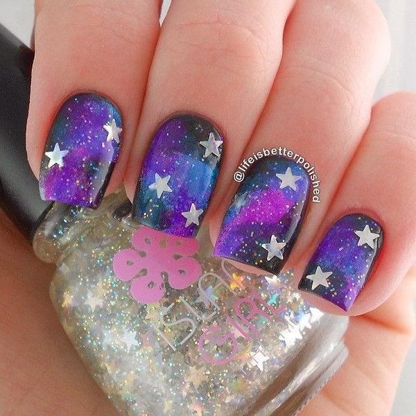 Black and Purple Galaxy Star Nails.