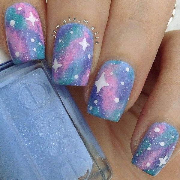 Pastel Galaxy Nails.