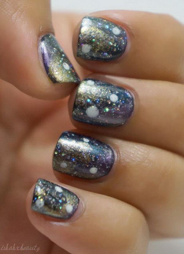 Glittering Galaxy Nails. Get the tutorial