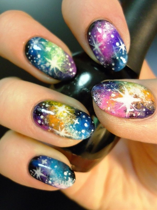 Rainbow Galaxy Nail Art.