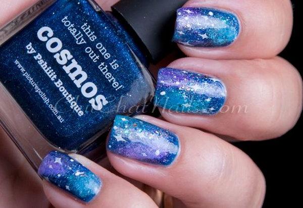 Blue Galaxy Nails.