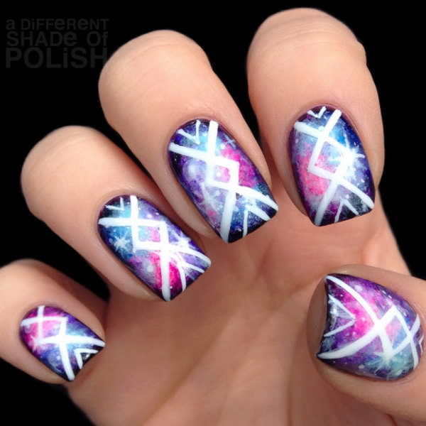Tribal Galaxy Nail Art.