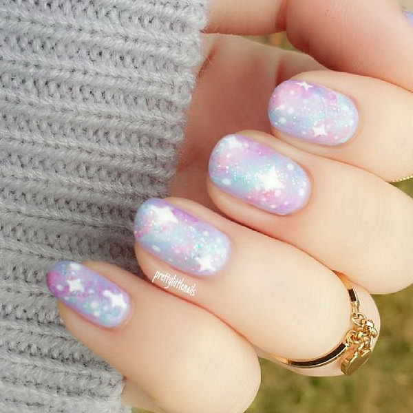 Pastel Galaxy Nail Design.