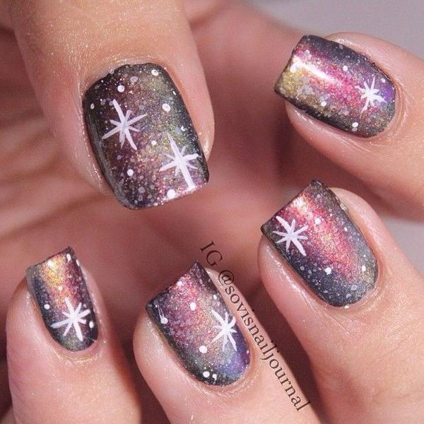 Purple Base Galaxy Nails.