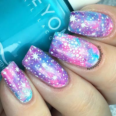 Galaxy Inspired Nail Art With Bright Pastel Colour Scheme.