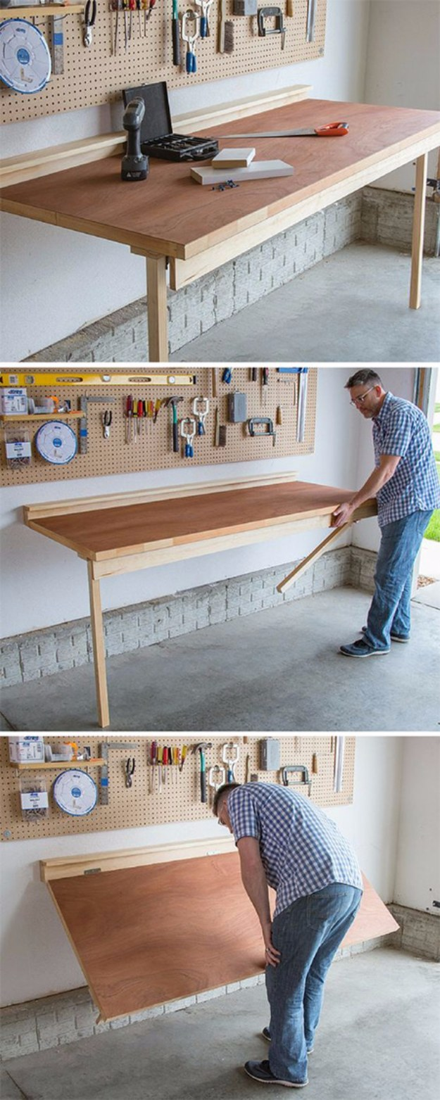 DIY Folding Bench Work Table.
