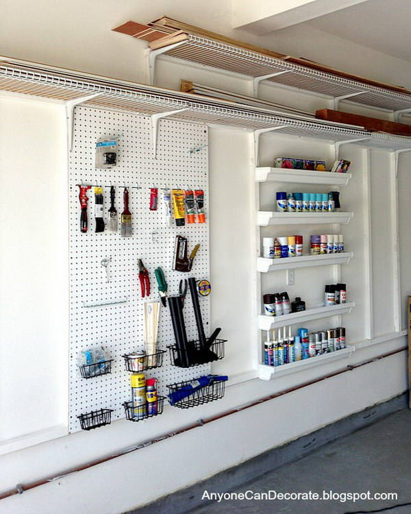 Custom Garage Organizer with Pegboard and Inexpensive Shelving.