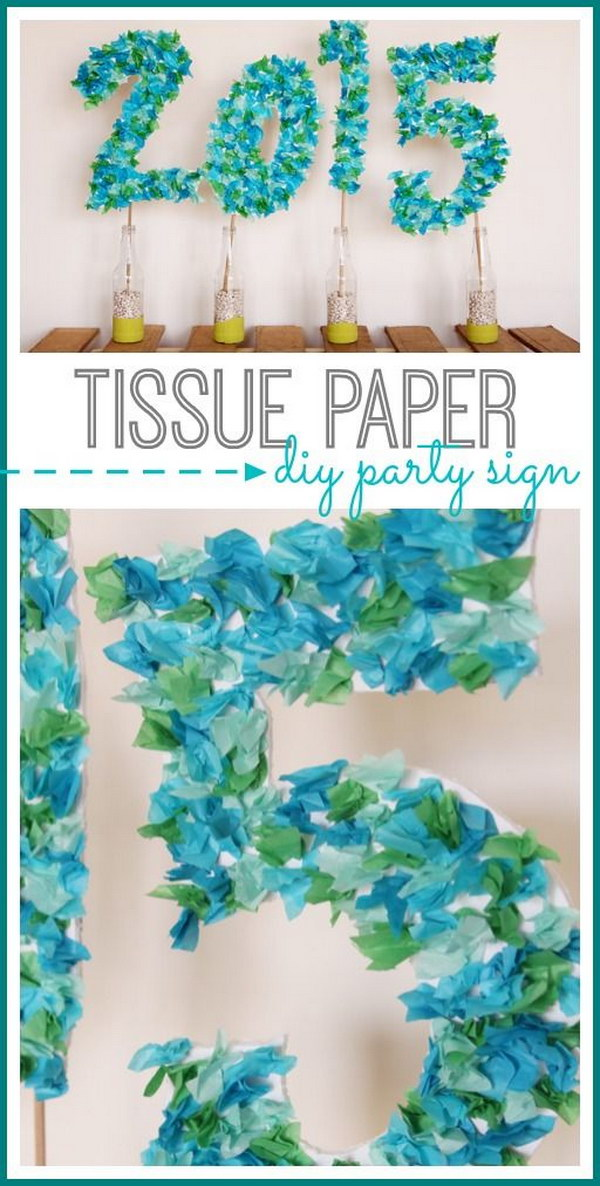 DIY Tissue Paper Party Sign.