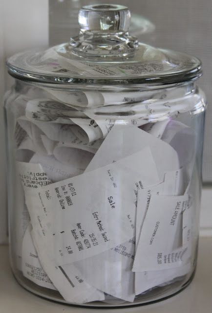 Use Mason Jars to Organize The Receipts.