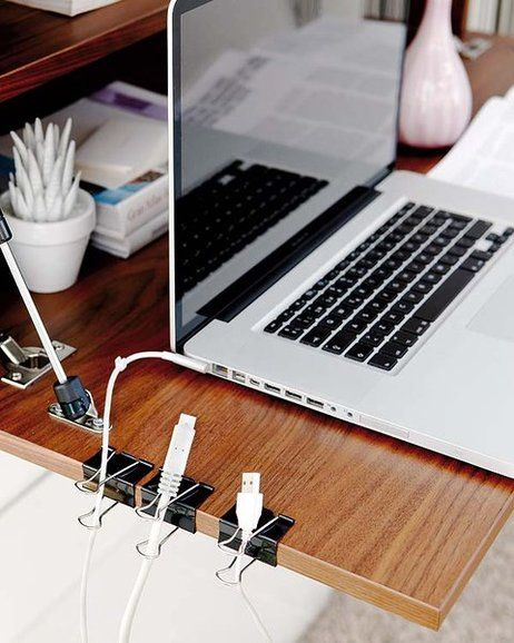 Keep Cords Easily Accessible with Binder Clips.