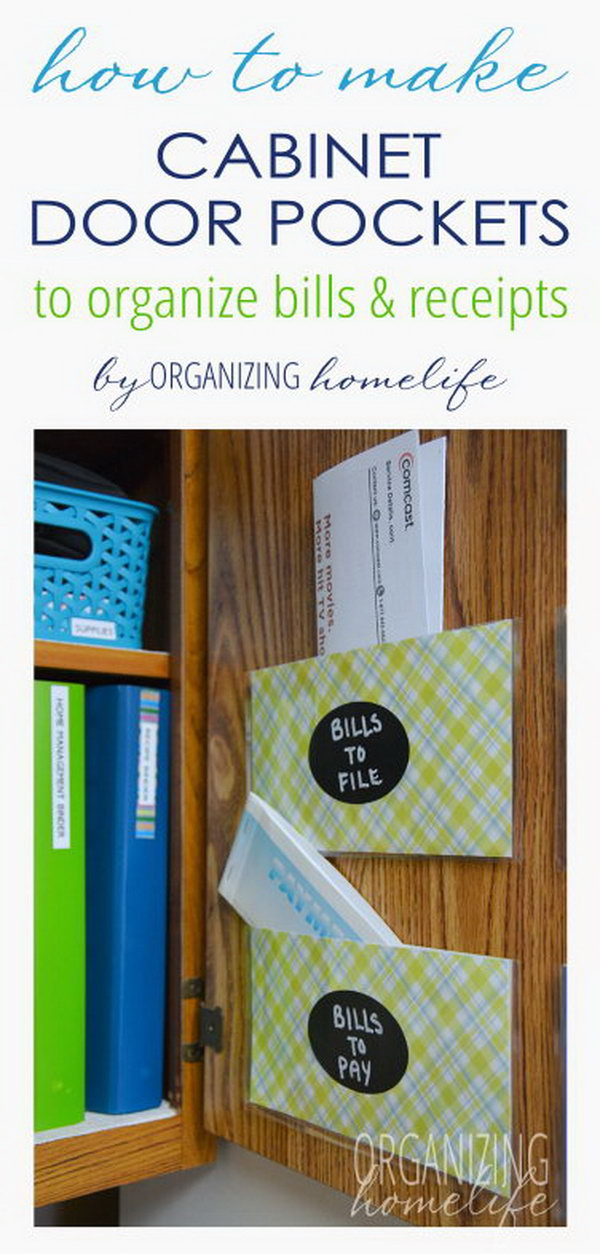 Organize Bills and Paperwork with DIY Cabinet Pockets.