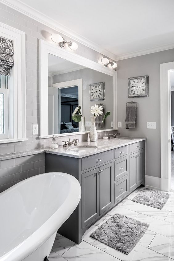 Bright and Gray Kitchen Cabinet.