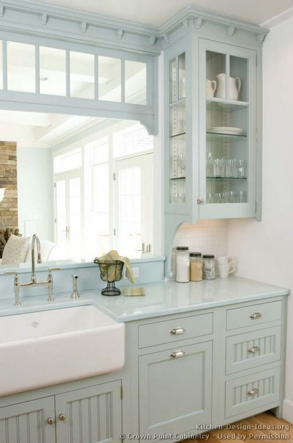 Ice Blue Kitchen Cabinets With Farm Sink.