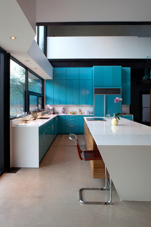 Custom-painted Turquoise Cabinets.