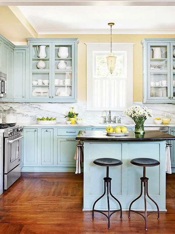 Blue-green Kitchen Cabinets with Glass Cupboards for Display.