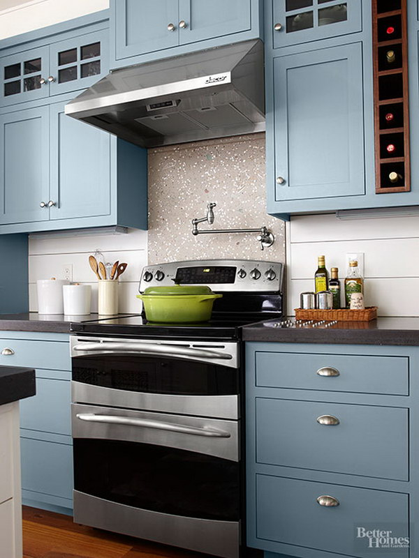 Ocean-blue Kitchen Cabinets.