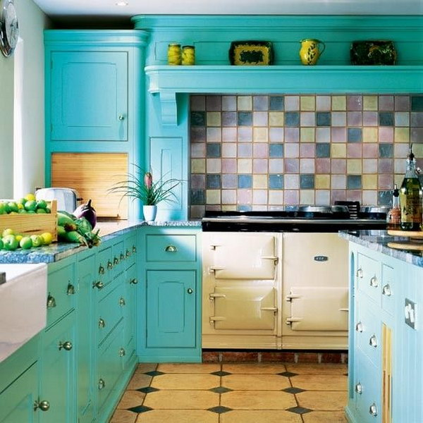 Ocean Blue Kitchen Cabinets.