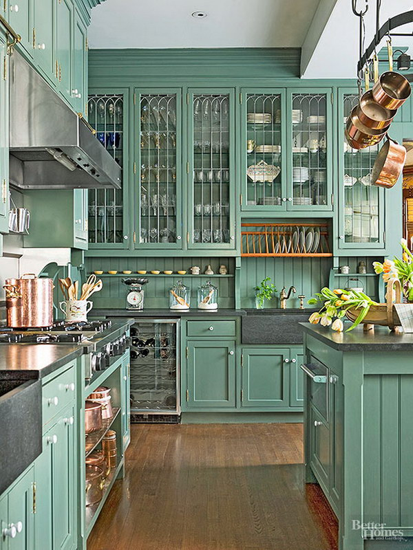 Classic Victorian Green Painted Kitchen Cabinets.
