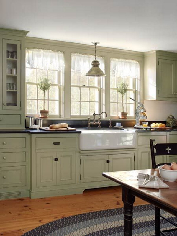 Grey Green Painted Kitchen Cabinets Kitchen Cabinet Ideas
