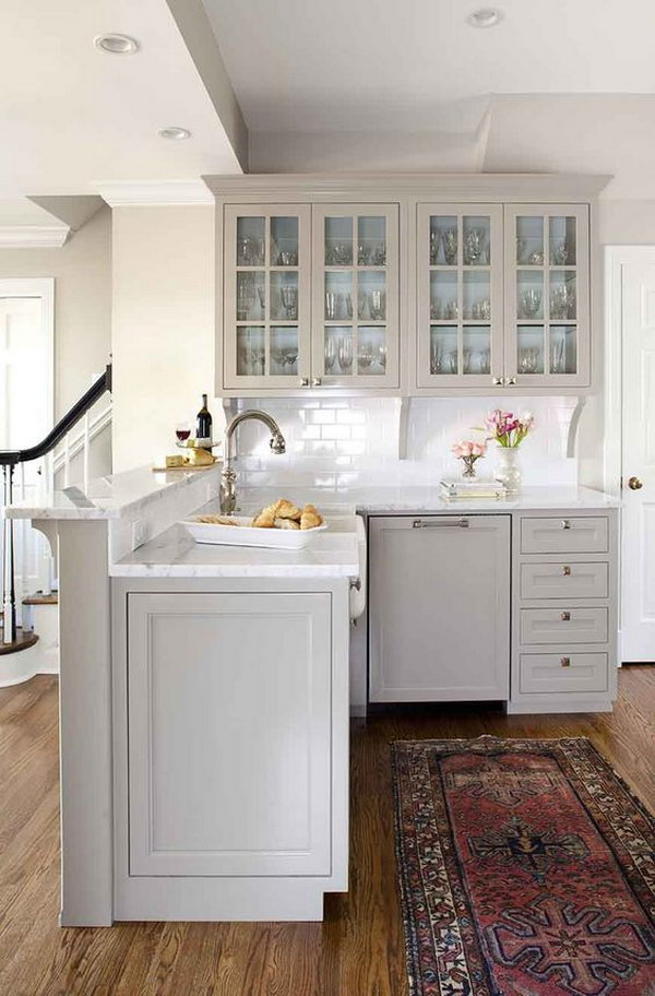 Traditional Dusty Grey Kitchen Cabinets.