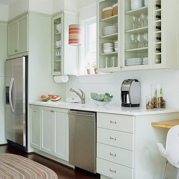 Light Green Painted Cabinets for Small Kitchens.
