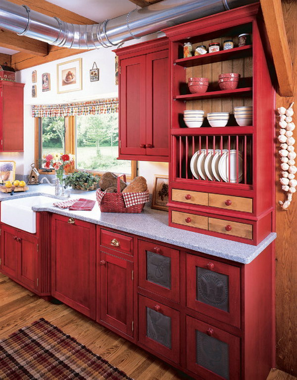 Traditional Country Kitchen with Red stained Cabinetry.