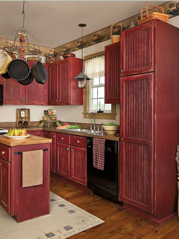 Vintage Red Painted Stock Cabinets for a Custom Country Kitchen & 80+ Amazing Kitchen Cabinet Paint Color Ideas 2017