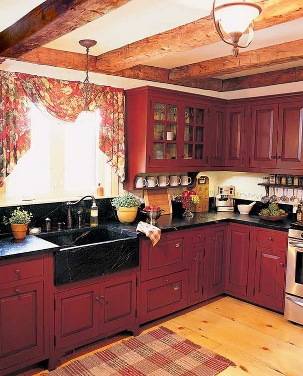 Red Country Kitchens with Rustic Wood Beams.
