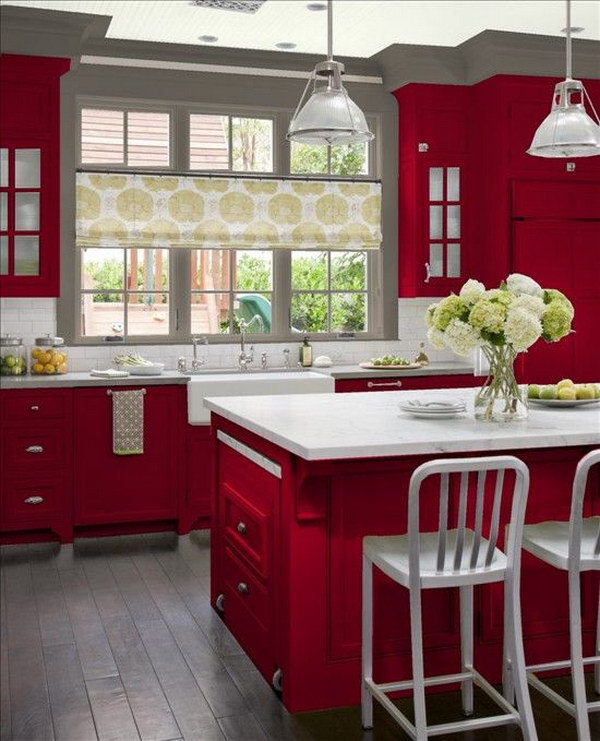 Red Cabinets Paired With White Countertops And Gray Walls