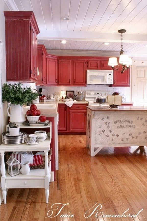 Red Cottage or Farmhouse Style Kitchen.