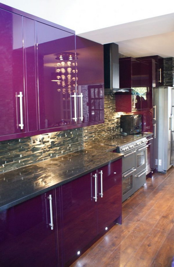Enthralling Purple Kitchen with Purple Kitchen Cabinet.