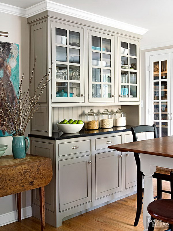 Light Gray Built-in Custom Cabinets.