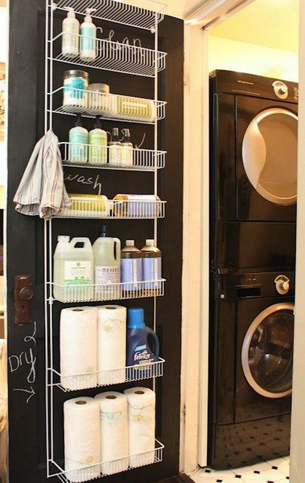 Use A Spice Rack Type Storage Shelf On A Door for Cleaning Products.