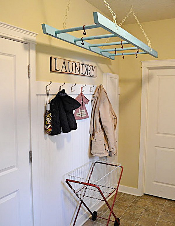 Use An Old Ladder In The Laundry Room As A Drying Rack.