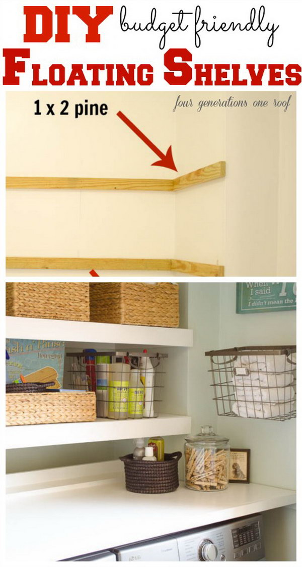 DIY Floating Shelves for Using Space Above The Washer.