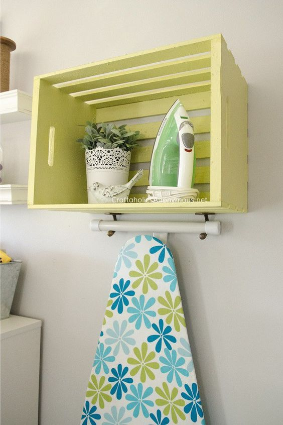 DIY Ironing Board Station Using a Wood Crate.